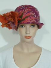 Funky vintage/ GATSBY style asymmetric fuchsia pink soft boiled wool cloche hat