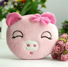 Women Girl Kawii Bowknot Pig Plush Coin Wallets Purse Key Bag Gift 1pc ☆