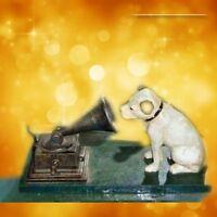 Eisen Hund HIS MASTERS VOICE mit Grammophon antik Vintage Deko