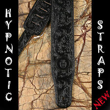 HYPNOTIC STRAPS WESTERN LEATHER BLACK TOOLED PATTERN GUITAR BASS ACOUSTIC STRAP