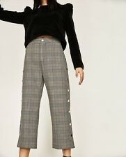 ZARA CHECKED TROUSERS WITH GOLD BUTTON SIDE SNAPS SIZE UK Xs Uk8 RRP £59.99