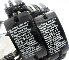 Leather bracelet with the Lord's Prayer - Adjustable