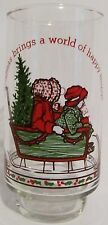 HOLLY HOBBIE Coca-Cola Coke Vintage Promotional Christmas Glass 1977 Limited Edi