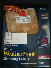 "Avery 5523 White WeatherProof Shipping Labels 2""x4""  New Free Shipping"