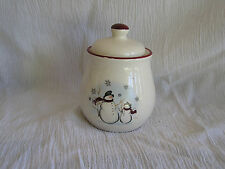 Royal Seasons Snowman Scarf Red Snowflake Rim Christmas Holiday Sugar Bowl & Lid