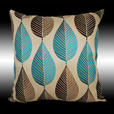 ELEGANT BLUE CHOCOLATE LEAF POLYESTER DECO THROW PILLOW CASE CUSHION COVER 17""