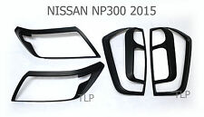 SET MATTE BLACK HEAD LIGHT TAIL LAMP COVER FOR NISSAN NAVARA NP300 2015 2016 UTE