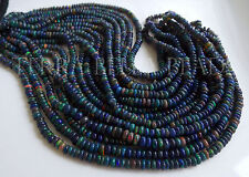 "7"" half strand black Ethiopian WELO OPAL smooth gem stone rondelle beads 4mm"