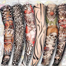 3 Pairs Fake Tattoo Temporary Slip On Tattoo Warmer Sleeve Cloth Arm Art Unisex