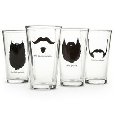 Mustache & Beard Novelty Barware Clear Pub Pint Glass Set of 4 - 16.5 Ounce