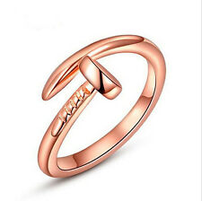Shiny Rose Gold Plated Cute Nail Adjustable Open Ring / Pinkie Ring Gift