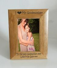 Godmother Photo Frame - I heart-Love My Godmother 4 x 6 Photo Frame - Free Engra