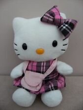 Hello Kitty In Tartan Outfit With Little Bag Soft Plush Toy