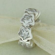Authentic Pandora 791783CZ Starshine Stars Spacer Clear CZ Silver Bead Charm
