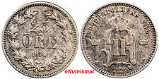 Sweden Oscar Ii Silver 1874 St 25 Ore Vf Condition Km# 738