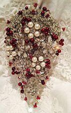 ❤️ Bridal Brooch, Crystals, Burgundy Deep Red Berry Beads Winter Wedding Bouquet