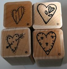 "4 Heart 1"" Rubber Stamp Wood Block Mini Scrapbooking Crafts Love Valentines"