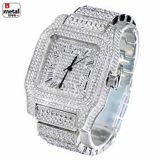 Men's Fashion Analog Stainless Steel Iced Out Heavy Metal Band Watches WM 7967 S