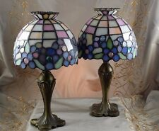 PARTYLITE HYDRANGEA Tea Light STAINED GLASS LAMP Retired SET of TWO