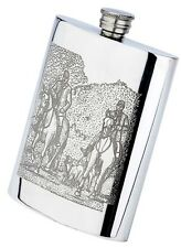 Pewter horses hunting scene, 6oz oblong hip flask & funnel, fox drag hounds