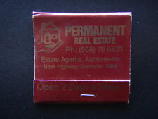 PERMANENT REAL ESTATE AGENTS BASS HWY GRANTVILLE 056 788433 RED MATCHBOOK