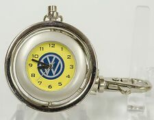 UNIQUE VOLKSWAGEN KEYCHAIN POCKET WATCH, SWIVEL DESIGN, YELLOW FACE, STAINLESS