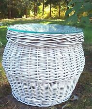 Vtg Round White Wicker Rattan glass top storage basket end table coffee table