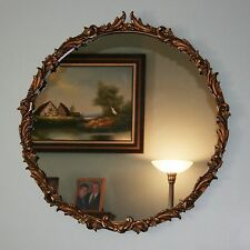 """Vtg 31"""" Round Gilt Gold Hollywood Regency Neoclassical Wood Ornate Wall Mirror"""