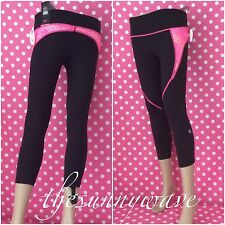 VICTORIA'S SECRET SPORT VSX KNOCKOUT Black Pink CAPRI CROP YOGA PANTS XS