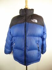 VINTAGE THE NORTH FACE BLACK BLUE NYLON DOWN PUFFER SKI JACKET COAT XL WITH HOOD
