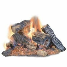 Emberglow Oak Vented Dual Burner Natural Gas Fireplace Logs Fire Log Insert Set