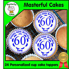 24 PERSONALISED 60TH BIRTHDAY BLUE DESIGN EDIBLE RICE PAPER CUP CAKE TOPPERS