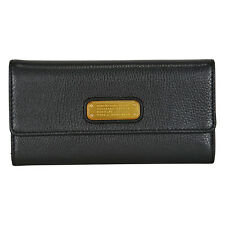 Marc by Marc Jacobs Q Long Trifold Leather Wallet - Black