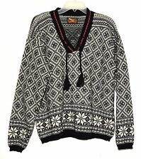 ALPS Black White w/ Red Trim 100% Wool Womens V Neck Pull Over Sweater Sz L USA