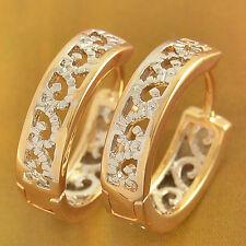 Filigree Hoop Huggie Earrings 18K gold filled & Silver Plated Womens Girls 14mm
