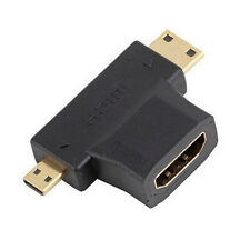 HDMI Female to Mini Micro HDMI Male V1.4 90 Degree 2 in 1 Convertor Adapter DT