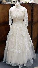 Vintage 1950s Lace Wedding Dress w/ Matching Lace Bolero Jacket Size UK 6-8
