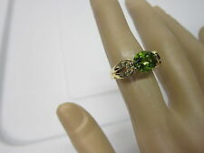 GORGEOUS ESTATE 14 KT GOLD 2.85 CTW PERIDOT AND GREEN DIAMOND RING !!!!!!!!!!