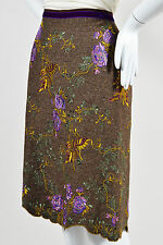 NWT $519 Etro Brown Multicolor Wool Tweed Floral Embroidered Skirt SZ 40 US 6