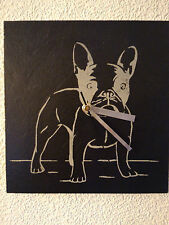 Slate Wall Clock French Bulldog - Design - Laser Engraved Face - Quartz Movement