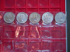 A SET OF FIVE ELIZABETH 11 CROWNS HOUSED IN A PLASTIC COIN PAGE***SEE PHOTOS****