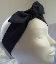 HEADWRAP HAIR WRAP HEADBAND HEAD BAND TIE BLUE DENIM LADIES NEW