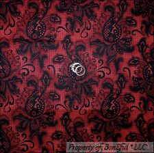 BonEful Fabric FQ Cotton Quilt Red Black Damask Flower VTG Lace Paisley Xmas Dot