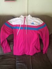 Vintage Womens Adidas White & Pink Full Zip  Lined Jacket Sz Large L