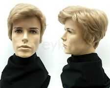 Mens Light Blonde Short Side Part Wig Synthetic Costume