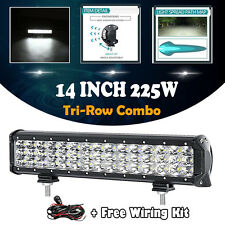 225W 14INCH Cree Led Work Light Bar SPOT FLOOD Offroad 4x4WD SUV+Free Wiring 12""