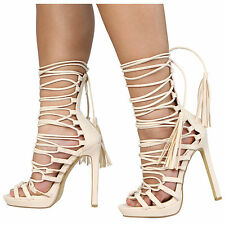 WOMENS LADIES PLATFORM STILETTO HIGH HEEL CUT OUT OPEN TOE LACE UP SHOES
