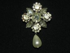 ANTIQUE VINTAGE VICTORIAN/ EDWARDIAN  WHITE RHINESTONE FAUX PEARL PIN/BROOCH