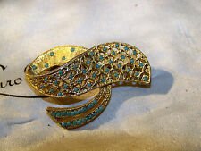 VINTAGE SIGNED SPHINX JEWELLERY GORGEOUS TURQUOISE SEED 3D GOLD BROOCH SHAWL PIN
