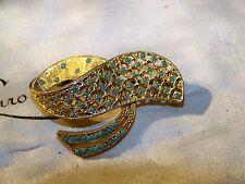 VINTAGE Firmata SPHINX gioielli splendido Turchese sementi 3D ORO SPILLA sciallato PIN